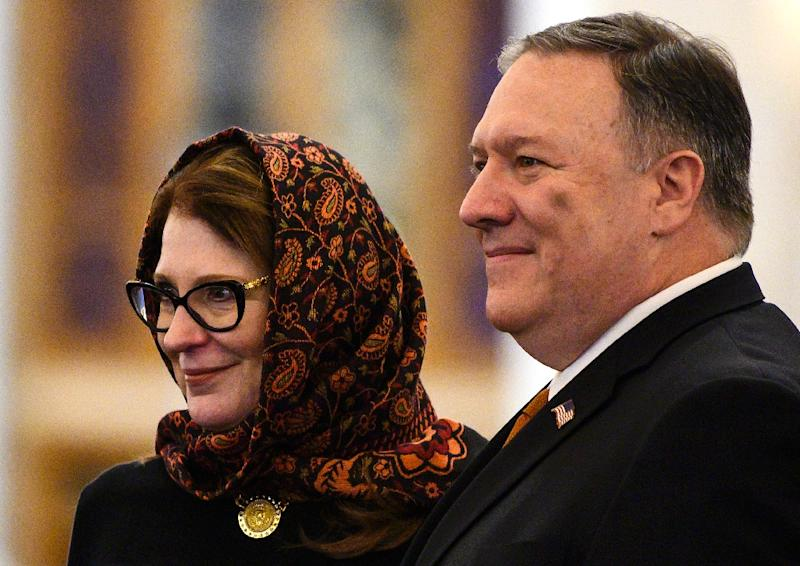 US Secretary of State Mike Pompeo, who has announced a ministerial meeting in Poland on the Middle East, tours the newly inaugrated Al-Fattah Al-Alim mosque in Egypt with his wife Susan (AFP Photo/ANDREW CABALLERO-REYNOLDS)