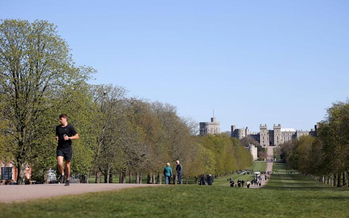 Visitor on the Long Walk avenue near Windsor Castle  - Reuters