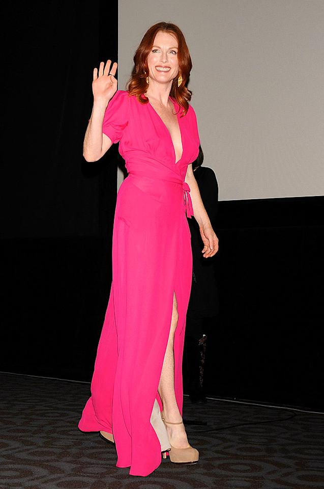 "Julianne Moore looks lovely in everything, but she is nearly perfect in this pink wrap dress and nude pumps. Jun Sato/<a href=""http://www.wireimage.com"" target=""new"">WireImage.com</a> - October 19, 2008"