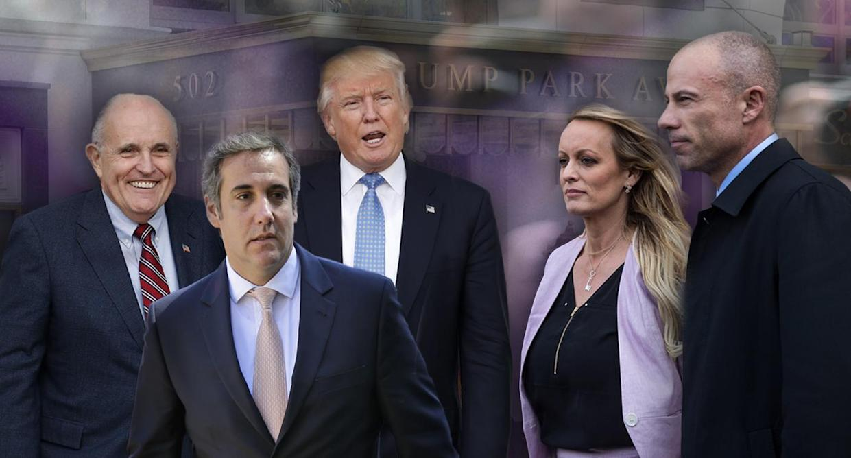 From left: Rudy Giuliani, Michael Cohen, Donald Trump, Stormy Daniels and Michael Avenatti. (Photo illustration: Carolyn Kaster/AP, Seth Wenig/AP, Yahoo News; photos: Drew Angerer/Getty Images, Seth Wenig/AP, Joe Raedle/Getty Images, Hector Retamal/AFP/Getty Images)