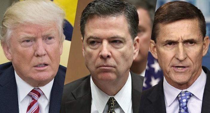 President Donald Trump, James Comey and Michael Flynn. (Photos: Michael Reynolds/Getty Images, Mark Wilson/Getty Images, Win McNamee/Getty Images)