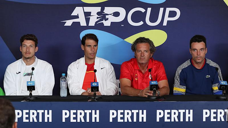 Rafael Nadal, pictured here addressing the media at the ATP Cup.