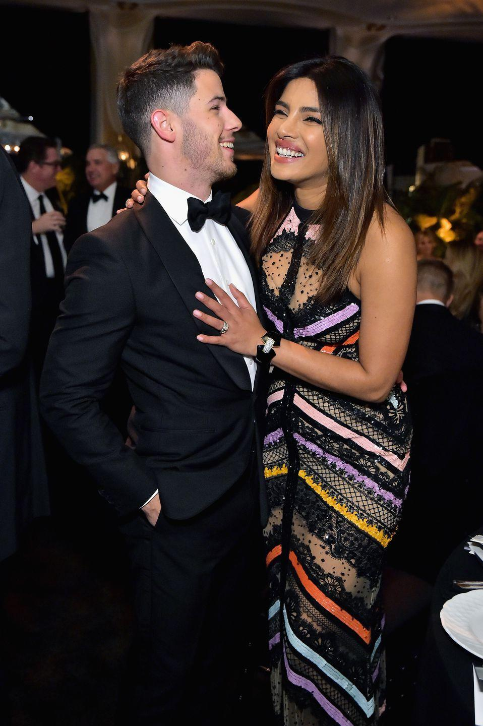 "<p>After two months of dating, Chopra and Jonas <a href=""https://www.harpersbazaar.com/celebrity/latest/a22572681/nick-jonas-priyanka-chopra-engaged/"" rel=""nofollow noopener"" target=""_blank"" data-ylk=""slk:became engaged"" class=""link rapid-noclick-resp"">became engaged</a> in July 2018. The couple then held a lavish <a href=""https://www.harpersbazaar.com/celebrity/latest/a25107771/priyanka-chopra-nick-jonas-wedding-details/"" rel=""nofollow noopener"" target=""_blank"" data-ylk=""slk:wedding"" class=""link rapid-noclick-resp"">wedding</a> in December of that year, complete with two ceremonies and multiple celebrations in India. While many fans noted their age difference, the couple couldn't care less. ""The age difference is not a big deal to them whatsoever,"" a source close to Jonas told <em><a href=""https://people.com/music/nick-jonas-loves-priyanka-chopra-older-mature/"" rel=""nofollow noopener"" target=""_blank"" data-ylk=""slk:People"" class=""link rapid-noclick-resp"">People</a></em>. In fact, Nick reportedly is a fan of the age gap between him and Priyanka. He ""loves dating older women, and if anything it makes Priyanka even more attractive to him,"" the source added. Jonas has ""always been very mature for his age"" and is ""an old soul.""</p>"
