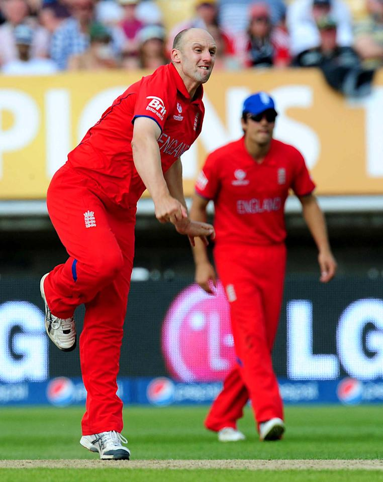 England's James Tredwell during the ICC Champions Trophy match at Edgbaston, Birmingham.