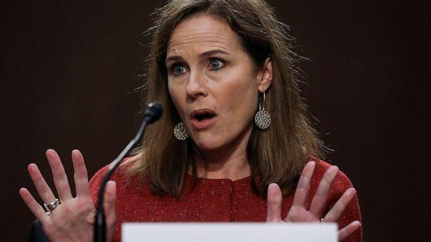PHOTO: Supreme Court nominee Judge Amy Coney Barrett testifies before the Senate Judiciary Committee on the second day of her confirmation hearing on Capitol Hill, Oct. 13, 2020. (Leah Millis-Pool/Getty Images)