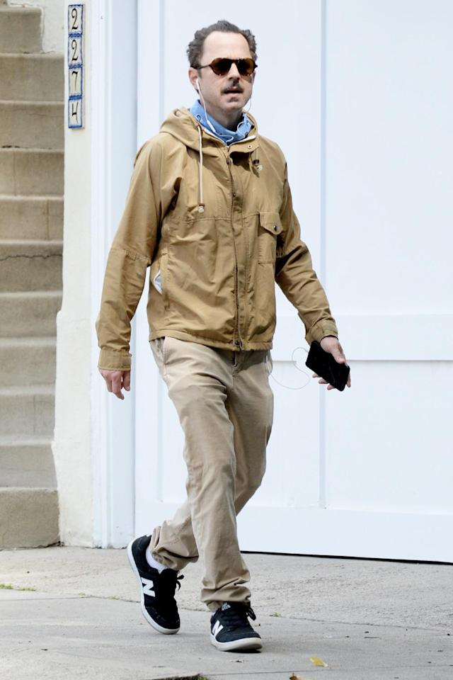 <p><i>Sneaky Pete </i>actor Giovanni Ribisi takes a walk in L.A. on Tuesday in a monochrome, all-khaki look. </p>