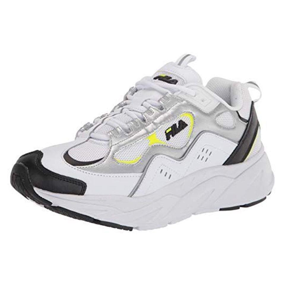 """<p><strong>Fila</strong></p><p>amazon.com</p><p><strong>$48.08</strong></p><p><a href=""""https://www.amazon.com/dp/B08BQ9PS8Q?tag=syn-yahoo-20&ascsubtag=%5Bartid%7C2139.g.33501651%5Bsrc%7Cyahoo-us"""" rel=""""nofollow noopener"""" target=""""_blank"""" data-ylk=""""slk:BUY IT HERE"""" class=""""link rapid-noclick-resp"""">BUY IT HERE</a></p><p>The chunky sneaker trend isn't go anywhere anytime soon. For a pair that channels out of this world energy, take Fila's comfy Trigate sneaker for a stroll. </p>"""