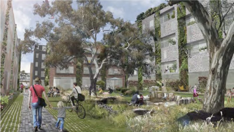 Composite design image of an urban area filled with plants and trees