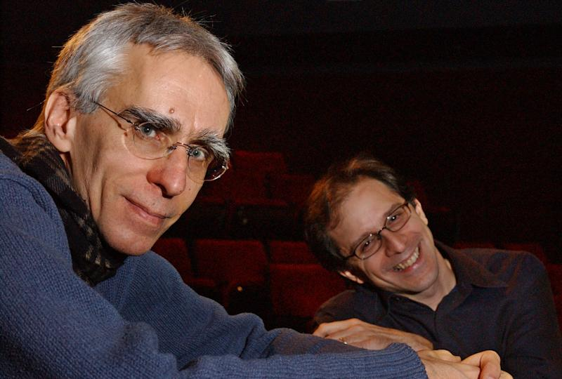 "FILE - This March 6, 2003 file photo shows playwright David Ives, left, and director John Rando at the Manhattan Theatre Club in New York. The playwright is this month actually celebrating the 20th anniversary of his first big success _ ""All in the Timing,"" a collection of six short plays. Primary Stages, which produced the plays in 1993, is once again mounting them, this time at 59E59 Theatres. (AP Photo/Frank Franklin II, file)"