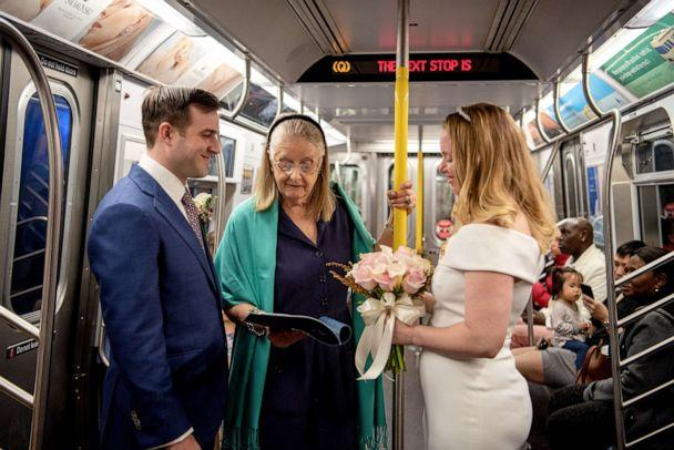PHOTO: Robert Musso and Frances Denmark got married on the New York City subway. (Courtesy Emily Chan Photography)