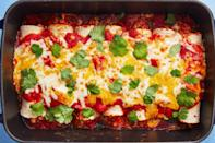 """<p>When you're b-o-r-e-d with plain ol' grilled chicken breasts, these delicious Mexican chicken recipes will help you enjoy chicken again. From enchiladas to fajitas to cheesy burritos, we've got all your Taco Tuesday/Cinco de Mayo/weeknight dinner needs covered. And for more Mexican-inspired recipes, check out these <a href=""""https://www.delish.com/cooking/g4568/mexican-side-dishes/"""" rel=""""nofollow noopener"""" target=""""_blank"""" data-ylk=""""slk:Mexican side dishes"""" class=""""link rapid-noclick-resp"""">Mexican side dishes</a>.</p>"""