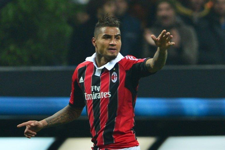 AC Milan's defender Kevin-Prince Boateng celebrates after scoring a goal on February 20, 2013 in Milan