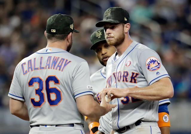 "<a class=""link rapid-noclick-resp"" href=""/mlb/teams/ny-mets/"" data-ylk=""slk:New York Mets"">New York Mets</a> starting pitcher <a class=""link rapid-noclick-resp"" href=""/mlb/players/9599/"" data-ylk=""slk:Steven Matz"">Steven Matz</a>, right, hands the ball to manager Mickey Callaway (36) as he is relieved in the fourth inning during a baseball game against the <a class=""link rapid-noclick-resp"" href=""/mlb/teams/miami/"" data-ylk=""slk:Miami Marlins"">Miami Marlins</a>, Saturday, May 18, 2019, in Miami. (AP Photo/Lynne Sladky)"