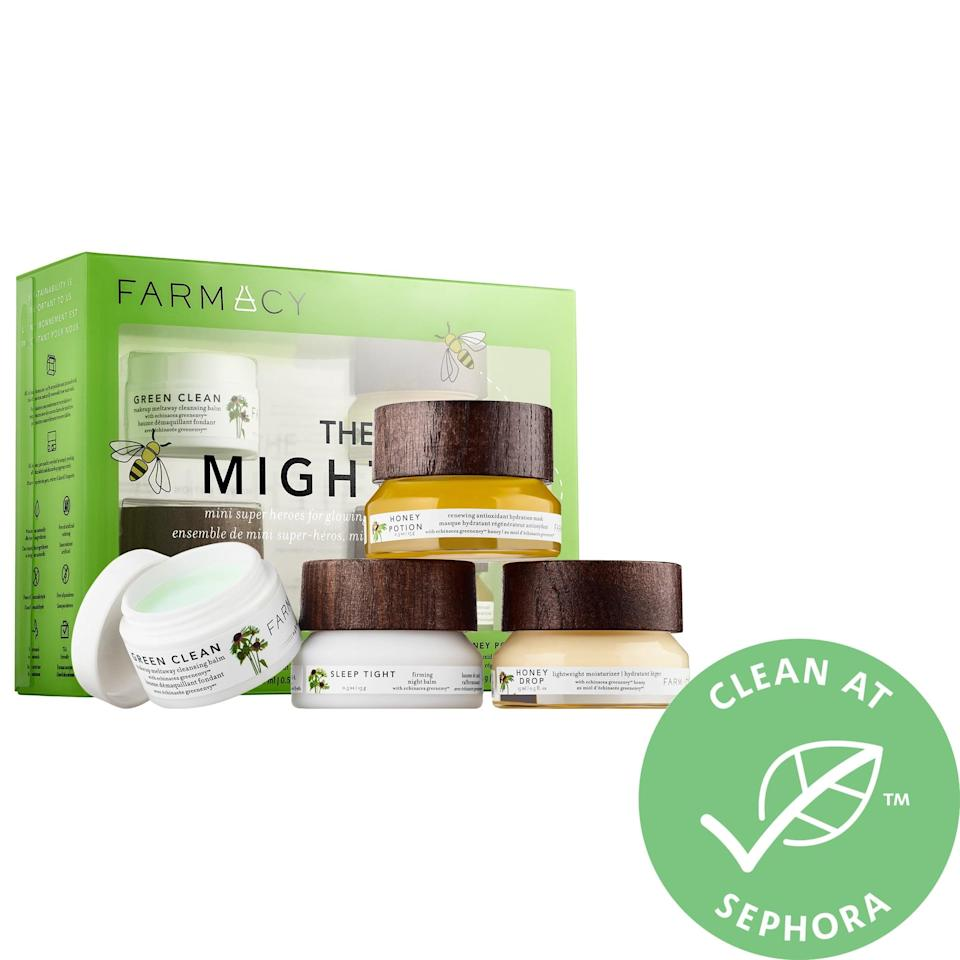 "<p><a href=""https://www.popsugar.com/buy/Farmacy-Mighties-Antioxidant-Powered-Hydration-Kit-366559?p_name=Farmacy%20The%20Mighties%20Antioxidant%20Powered%20Hydration%20Kit&retailer=sephora.com&pid=366559&price=32&evar1=bella%3Aus&evar9=47589683&evar98=https%3A%2F%2Fwww.popsugar.com%2Fbeauty%2Fphoto-gallery%2F47589683%2Fimage%2F47594207%2FFarmacy-Mighties-Antioxidant-Powered-Hydration-Kit&prop13=mobile&pdata=1"" class=""link rapid-noclick-resp"" rel=""nofollow noopener"" target=""_blank"" data-ylk=""slk:Farmacy The Mighties Antioxidant Powered Hydration Kit"">Farmacy The Mighties Antioxidant Powered Hydration Kit</a> ($32, originally $45) features their bestselling makeup cleanser along with a firming night balm, a hydration mask, and a lightweight moisturizer, too.</p>"