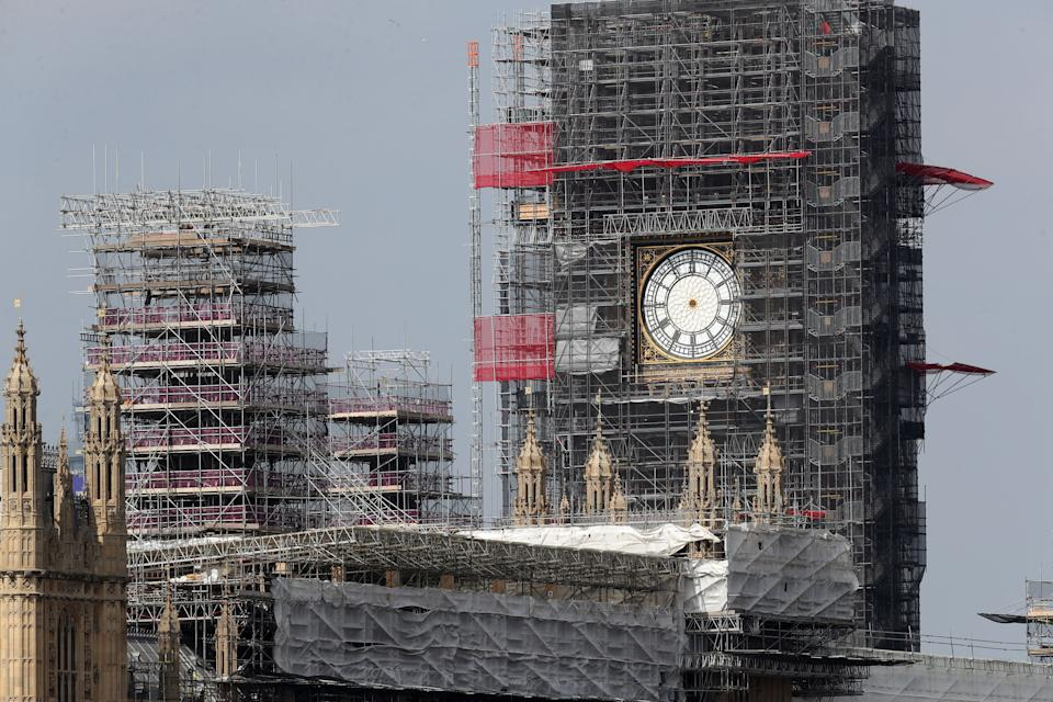 The clock hands of Elizabeth Tower at the Palace of Westminster have been removed for maintenance and restoration work as the tower is undergoing a £61m refurbishment, up from the original estimate of £29m.