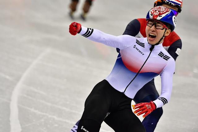 <p><span>South Korea's Lim Hyojun (front) reacts to winning the gold medal in the men's 1500m short track speed skating final. Behind him is silver medalist, Sjinkie Knegt, frSom the Netherlands. Semen Elistratov, Olympic Athlete from Russia, finished with the bronze medal.</span> </p>