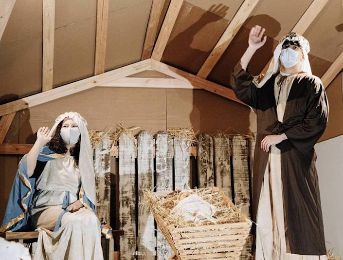"""Church volunteers dress up for Valley Christian Center's """"Christmas on the Hill"""" nativity scene. (Valley Christian Center)"""