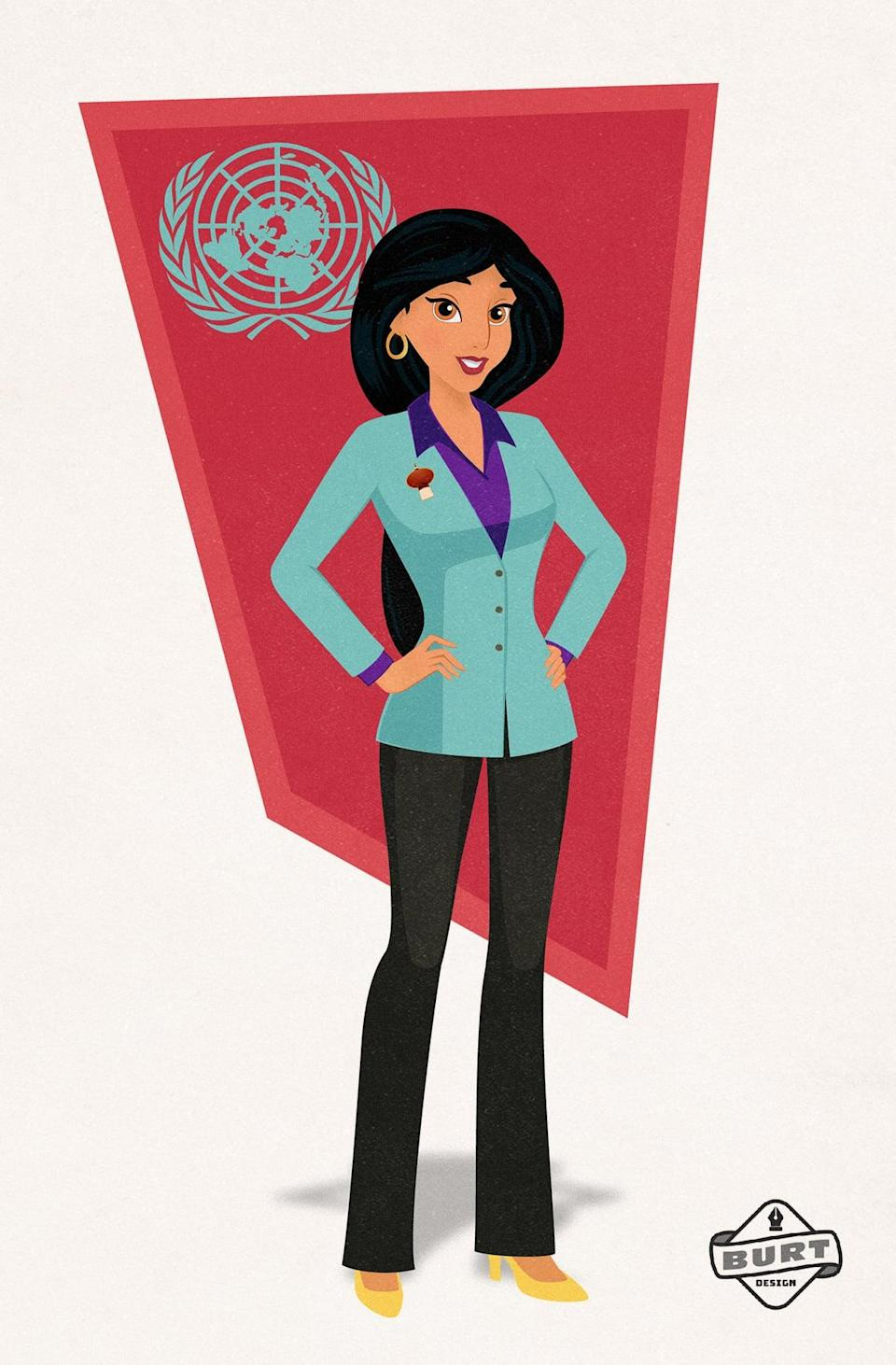 """<p><strong>Matt's explanation:</strong> """"Jasmine has always fought for what's right and for change where it is needed - she's not a prize to be won. A natural politician, she now advocates for her country of Agrabah at the United Nations. One of her primary initiatives is protecting women's rights by ensuring that women are treated fairly across the globe."""" </p>"""