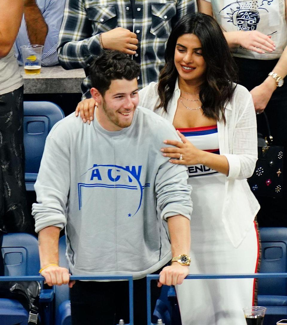 <p>The couple have a date day out at the iconic tournament in New York City, where they are joined by Joe Jonas and Sophie Turner.</p>