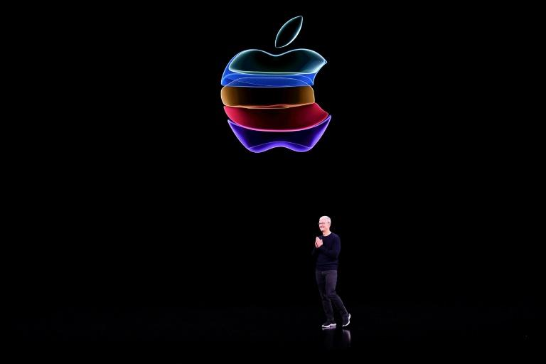 Apple CEO Tim Cook speaks on-stage during a product launch event at Apple's headquarters in Cupertino, (AFP Photo/Josh Edelson)