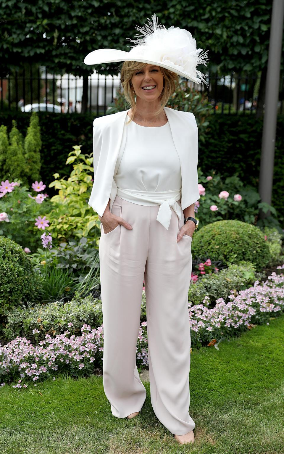 <p>Wearing a pale pink and white jumpsuit, the 'Good Morning Britain' presenter looked effortlessly chic in her Ascot attire. <em>[Photo: PA]</em> </p>