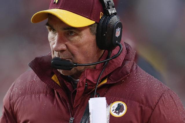 Washington Redskins head coach Mike Shanahan watches the action on the field during the second half of an NFL football game against the in Landover, Md., Sunday, Dec. 8, 2013. (AP Photo/Evan Vucci)