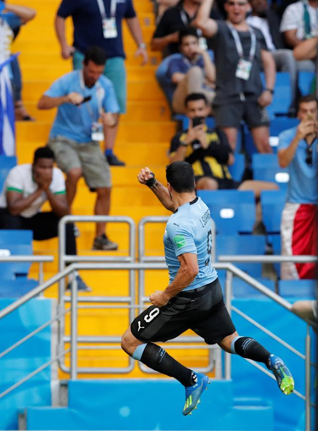 Soccer Football - World Cup - Group A - Uruguay vs Saudi Arabia - Rostov Arena, Rostov-on-Don, Russia - June 20, 2018 Uruguay's Luis Suarez celebrates scoring their first goal REUTERS/Carlos Garcia Rawlins