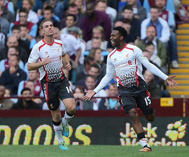 *ALTERNATE CROP* Liverpool's Daniel Sturridge celebrates after scoring his team's opening goal