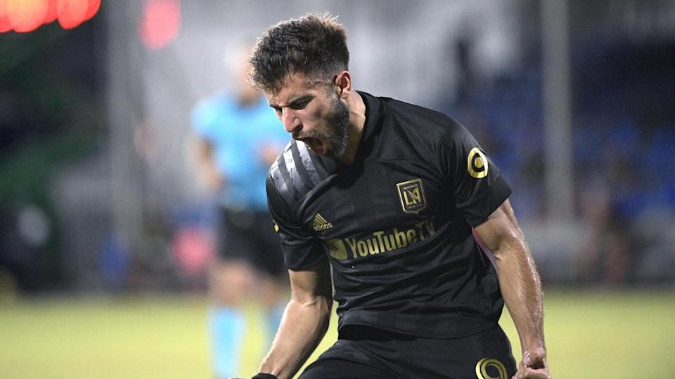 LAFC forward Diego Rossi reacts after scoring a goal against the Houston Dynamo.