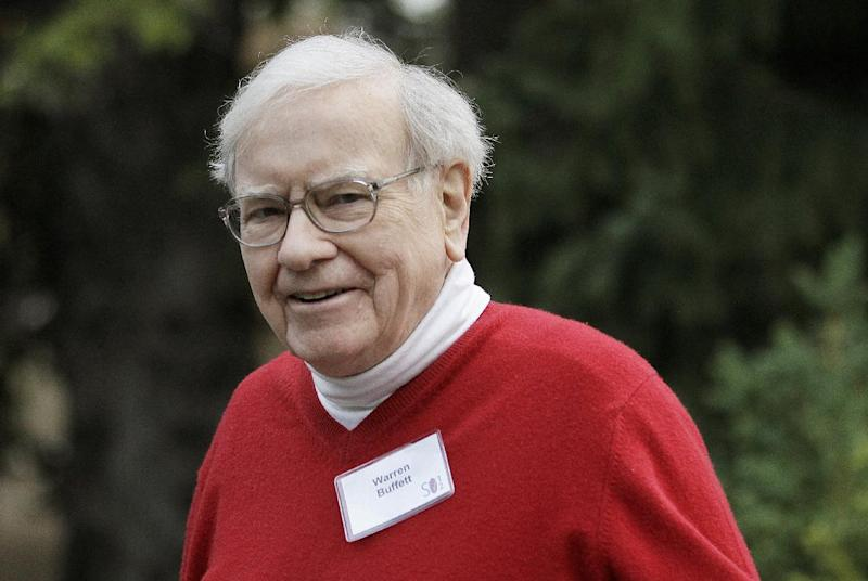 Warren Buffett, chairman and CEO, Berkshire Hathaway, Inc., arrives at the Allen & Company Sun Valley Conference in Sun Valley, Idaho, Friday, July 13, 2012. (AP Photo/Paul Sakuma)