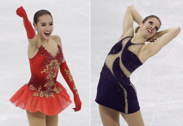 FILE - At left, in a Feb. 23, 2018, file photo, Alina Zagitova of the Olympic Athletes of Russia reacts following her performance during the women's free figure skating final at the 2018 Winter Olympics in Gangneung, South Korea. At right, also in a Feb. 23, 2018, file photo, Carolina Kostner of Italy performs during the women's free figure skating final in Gangneung, South Korea. Zagitova is the favorite heading into the figure skating worlds championships. Kostner is the sentimental choice. The Italian is competing on home soil in what could be the final major competition of her decorated career. (AP Photo/Petr David Josek, File)