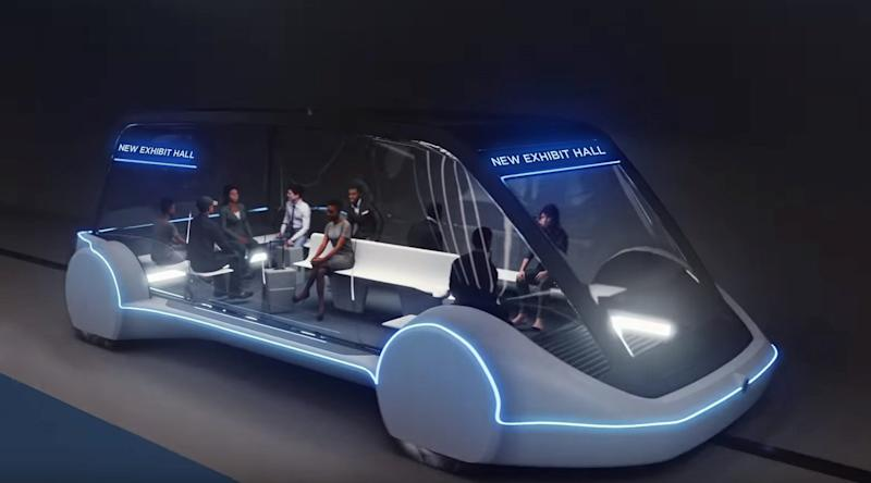 A conceptual drawing provided by The Boring Co. shows a high-occupancy Autonomous Electric Vehicle (AEV) that would run in a tunnel between exhibition halls at the Las Vegas Convention Center.