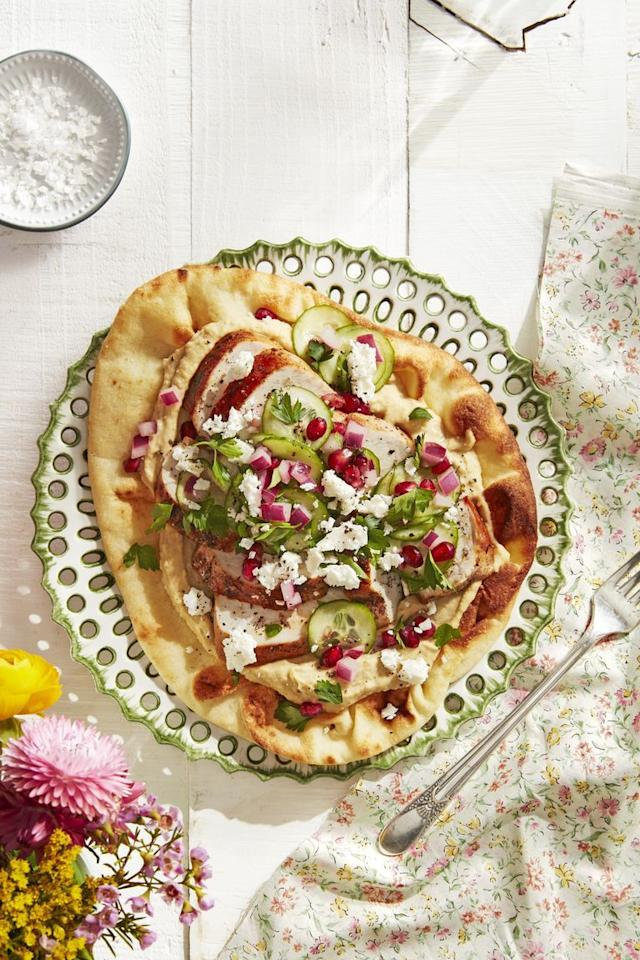"""<p>Skip the oven by making these quick, easy flatbreads perfect for a summer weeknight meal.</p><p><strong><a href=""""https://www.countryliving.com/food-drinks/a30613593/spiced-chicken-flatbreads-recipe/"""">Get the recipe.</a></strong></p><p><strong><strong><a class=""""body-btn-link"""" href=""""https://www.amazon.com/Utopia-Kitchen-Pre-Seasoned-Cast-Skillet/dp/B00X4WQMAS/?tag=syn-yahoo-20&ascsubtag=%5Bartid%7C10050.g.4381%5Bsrc%7Cyahoo-us"""" target=""""_blank"""">SHOP SKILLETS</a></strong><br></strong></p>"""
