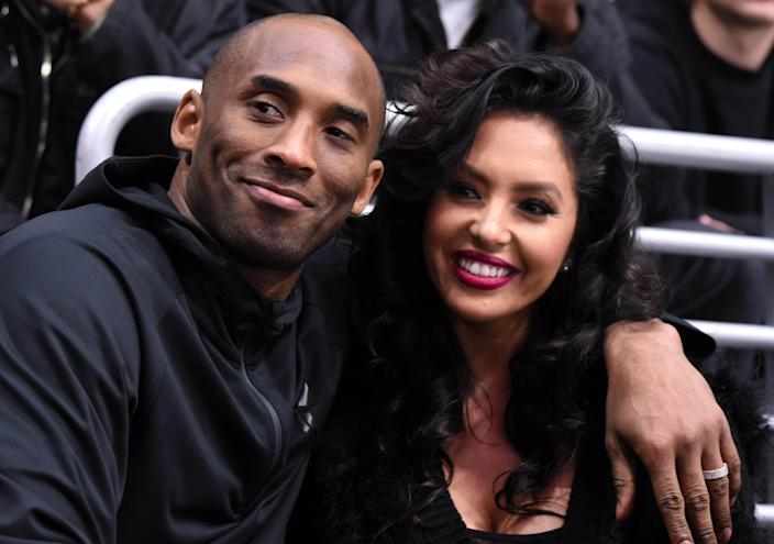 Los Angeles Lakers guard Kobe Bryant and wife Vanessa Bryant attend an NHL game between the Washington Capitals and the Los Angeles Kings at Staples Center on Mar 9, 2016.
