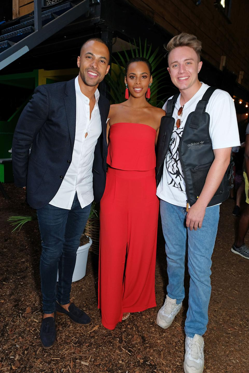Marvin Humes, Rochelle Humes and Roman Kemp pictured at the VIP launch of Just Eat Food Fest: Desert Island Dishes in Red Market, London. (Photo by David M Benett/Dave Benett/Getty Images For Just Eat)