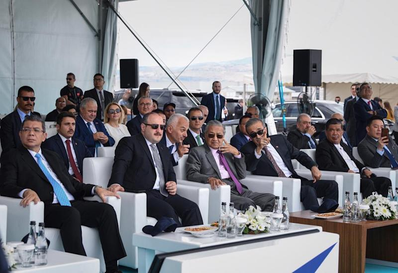 Tun Dr Mahathir Mohamad and Malaysian delegates visit Turkish Aerospace Industries at the outskirts of Ankara July 25, 2019. — Bernama pic