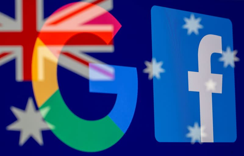 Google and Facebook logos and Australian flag are displayed in this illustration taken