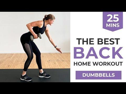"""<p>Grab your <a href=""""https://www.womenshealthmag.com/uk/gym-wear/g33455565/best-dumbbells/"""" rel=""""nofollow noopener"""" target=""""_blank"""" data-ylk=""""slk:best dumbbells"""" class=""""link rapid-noclick-resp"""">best dumbbells</a> and gear up for an efficient and strengthening back workout. Coming in at under 30 mins, build lean muscle and sculpt a strong torso with minimal equipment. </p><p><strong>Equipment: </strong>Dumbbells</p><p><strong>How long? </strong>25 minutes<strong><br></strong></p><p><a href=""""https://www.youtube.com/watch?v=RzTG_Psmd9U&ab_channel=nourishmovelove"""" rel=""""nofollow noopener"""" target=""""_blank"""" data-ylk=""""slk:See the original post on Youtube"""" class=""""link rapid-noclick-resp"""">See the original post on Youtube</a></p>"""