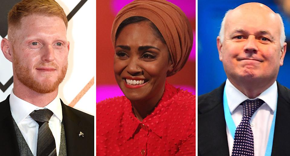 Ben Stokes, Nadiya Hussain and Iain Duncan Smith have all been honoured. (PA)