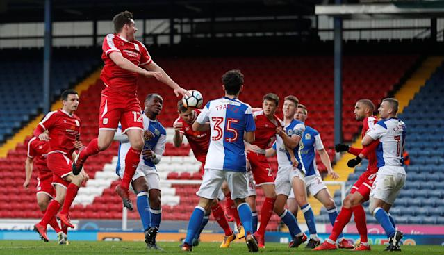 Soccer Football - FA Cup Second Round - Blackburn Rovers vs Crewe Alexandra - Ewood Park, Blackburn, Britain - December 3, 2017 Chris Porter scores Crewe's third goal Action Images/Carl Recine