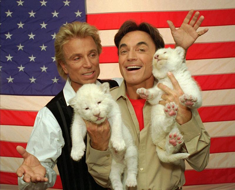 Two rare, 18-day-old white lion cubs squirm their way through a photo session with their new American hosts, illusionists Siegfried, left, and Roy, Thursday, May 2, 1996, in Las Vegas.