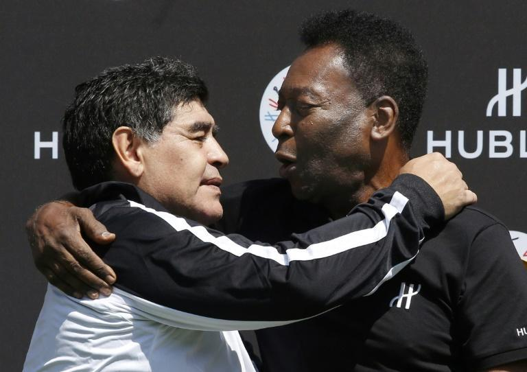 Brazil's Pele (right) paid tribute to Diego Maradona, who has died at the age of 60
