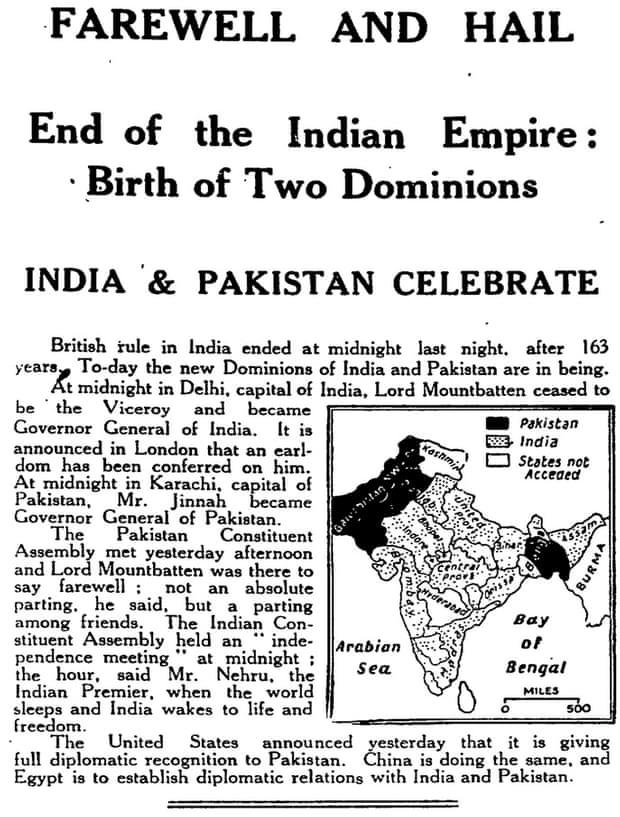 "The British newspaper, in its editorial, spoke nostalgically about India's independence. It wrote about how the wheel had come a full circle, and the British, who first came to India as traders, were now once more in the country as traders. It credited India for the non-violent way in which it won independence and leaders such as Jawaharlal Nehru, Sardar Vallabhai patel, Mohammad Ali Jinnah, Jai Prakash Narain and, above all, Mahatma Gandhi, as figures instrumental for the independence. The editorial spoke about the many trying times India, as a nation would have to face, but added that ""Indians have not fought for independence in the belief that it was a bed of roses."" Rather, ""They have claimed, naturally and rightly, the honour of confronting and fighting the dangers with which their country is faced and of freely invoking or dispensing with the aid which may be offered them from outside. It is a resolution which every man of spirit will applaud."" The Guardian concluded the editorial rather dramatically by declaring the British Raj as dead. Image credit: From the archives of the Manchester Guardian, 15 August 1947"
