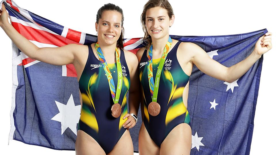 Anabelle Smith and Maddison Keeney, pictured here with their bronze medals at the Rio Olympics in 2016.