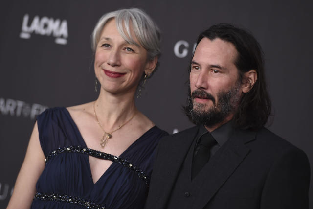 Keanu Reeves and Alexandra Grant arrive at the 2019 LACMA Art and Film Gala at Los Angeles County Museum of Art in November 2019. (Jordan Strauss/Invision/AP)