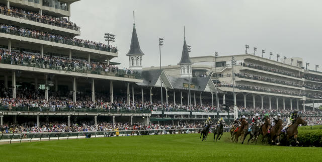 <p>Proctor's Ledge #6, ridden by John Velazquez, wins the Longines Churchill Distaff Turf Mile on Kentucky Derby Day at Churchill Downs on May 5, 2018 in Louisville, Ky. (Photo by Mary Meek/Eclipse Sportswire/Getty Images) </p>