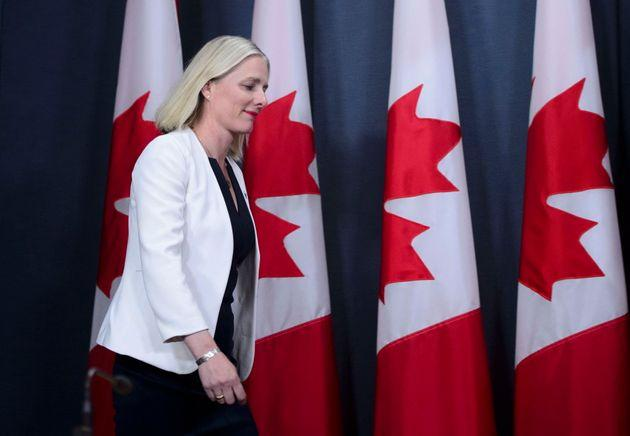 Environment Minister Catherine McKenna arrives to a media availability in Ottawa regarding the government's decision on the Trans Mountain expansion project on June 18, 2019.