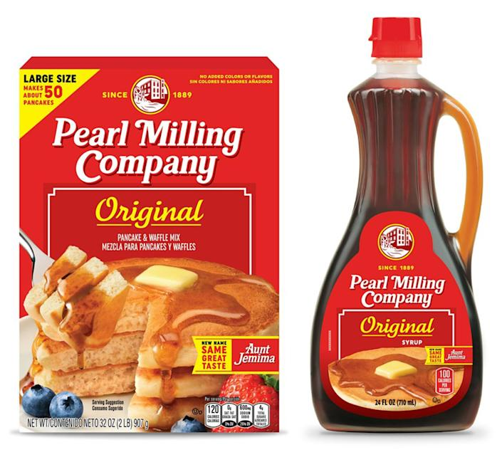 Rebranded Aunt Jemima packaging shows similar bottles labeled Pearl Milling Company (Courtesy PepsiCo, Inc.)