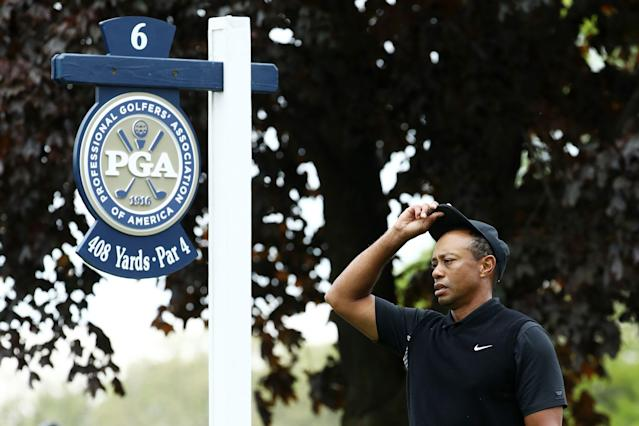 Tiger Woods prepares to tee off on the sixth tee during the second round of the 2019 PGA Championship at the Bethpage Black course. (Getty Images)