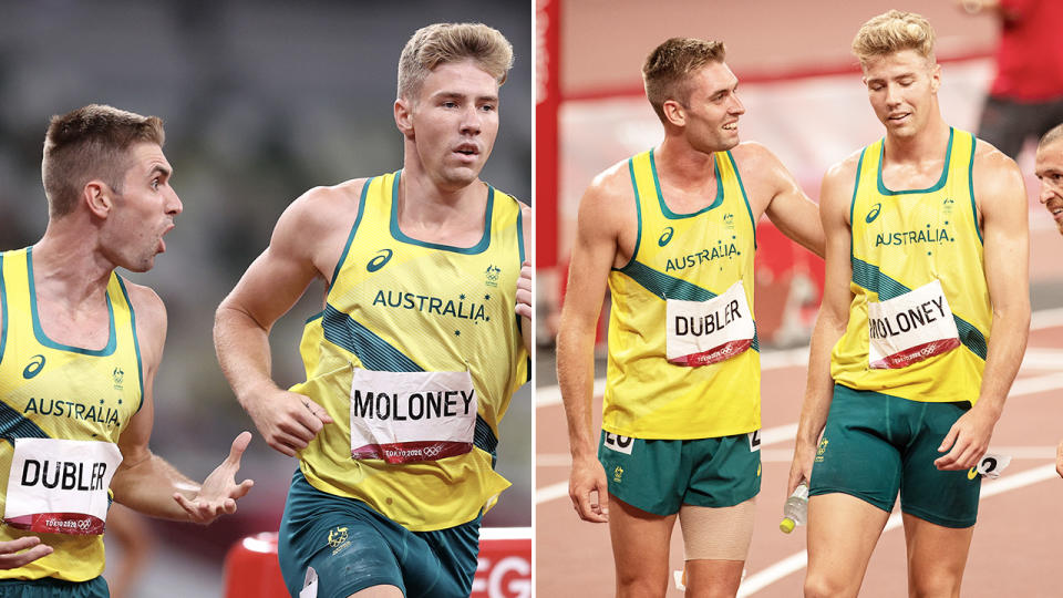Cedric Dubler and Ash Moloney, pictured here in the 1500m event during the decathlon.
